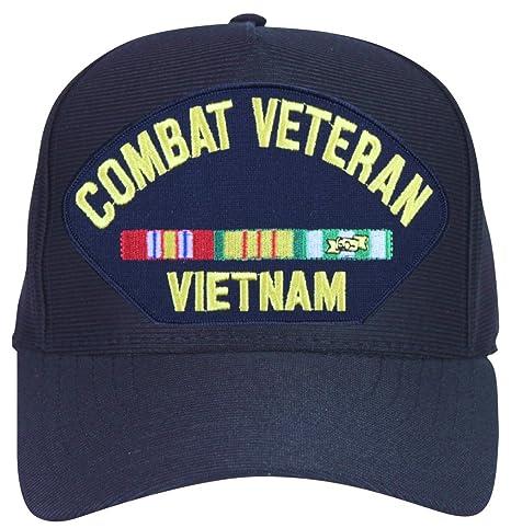 14b99d9250c69 MilitaryBest Combat Veteran Vietnam with Ribbons Ball Cap with Custom Back  Text