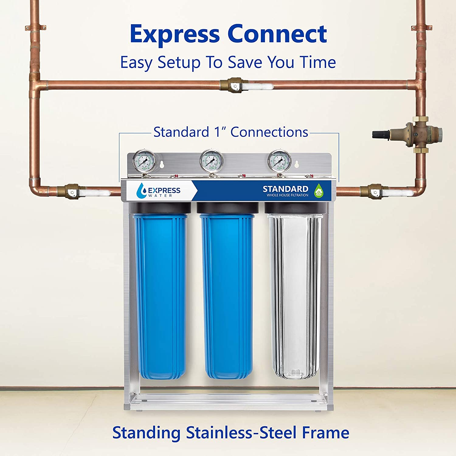Express Water Whole House Water Filter, 3 Stage Home Water Filtration  System, Sediment, Charcoal, Carbon Filters includes Pressure Gauges, Easy