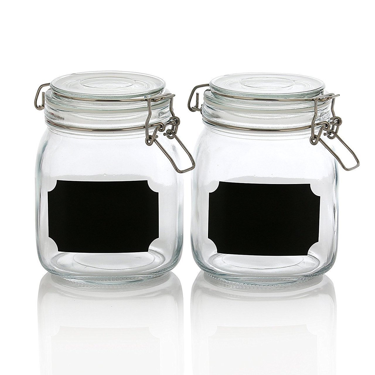 Set of 2, 32 Ounce Clear Airtight Canister Set with Chalkboard Labels, Glass Jars for Cereal, Flour, Pantry Storage Jars pv32j