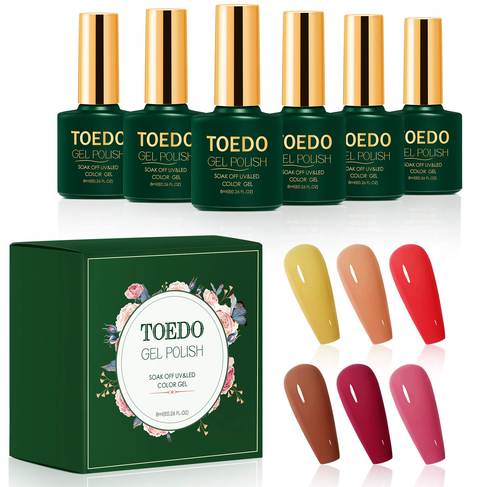 Gel Nail Polish Set – TOEDO Fall Winter Nail Gel 6 Colors