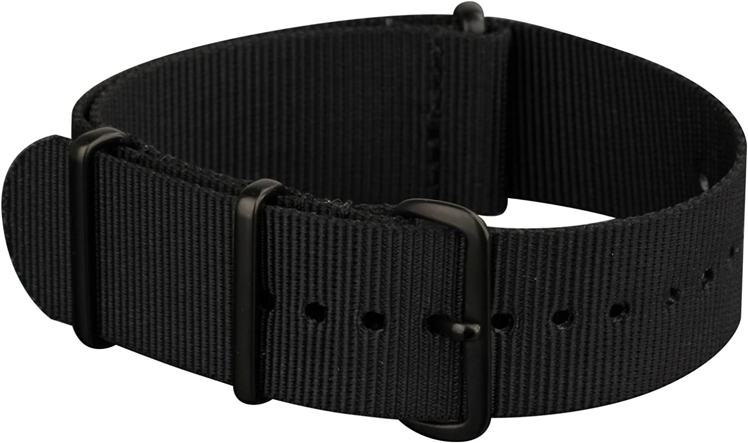 INFANTRY 20mm 22mm NATO Zulu Watch Strap, Nylon Canvas Fabric, 4 Rings Stainless Steel Buckle
