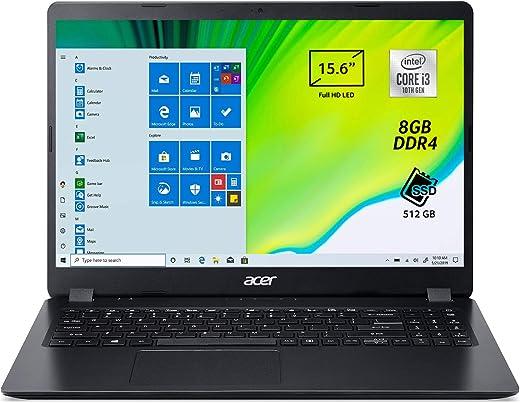 "Acer Aspire 3 A315-56-35MW Pc Portatile, Notebook con Processore Intel Core i3-1005G1, Ram 8 GB DDR4, 512 GB PCIe NVMe SSD, Display 15.6"" FHD LED LCD, Intel UHD, Windows 10 Home, Nero"