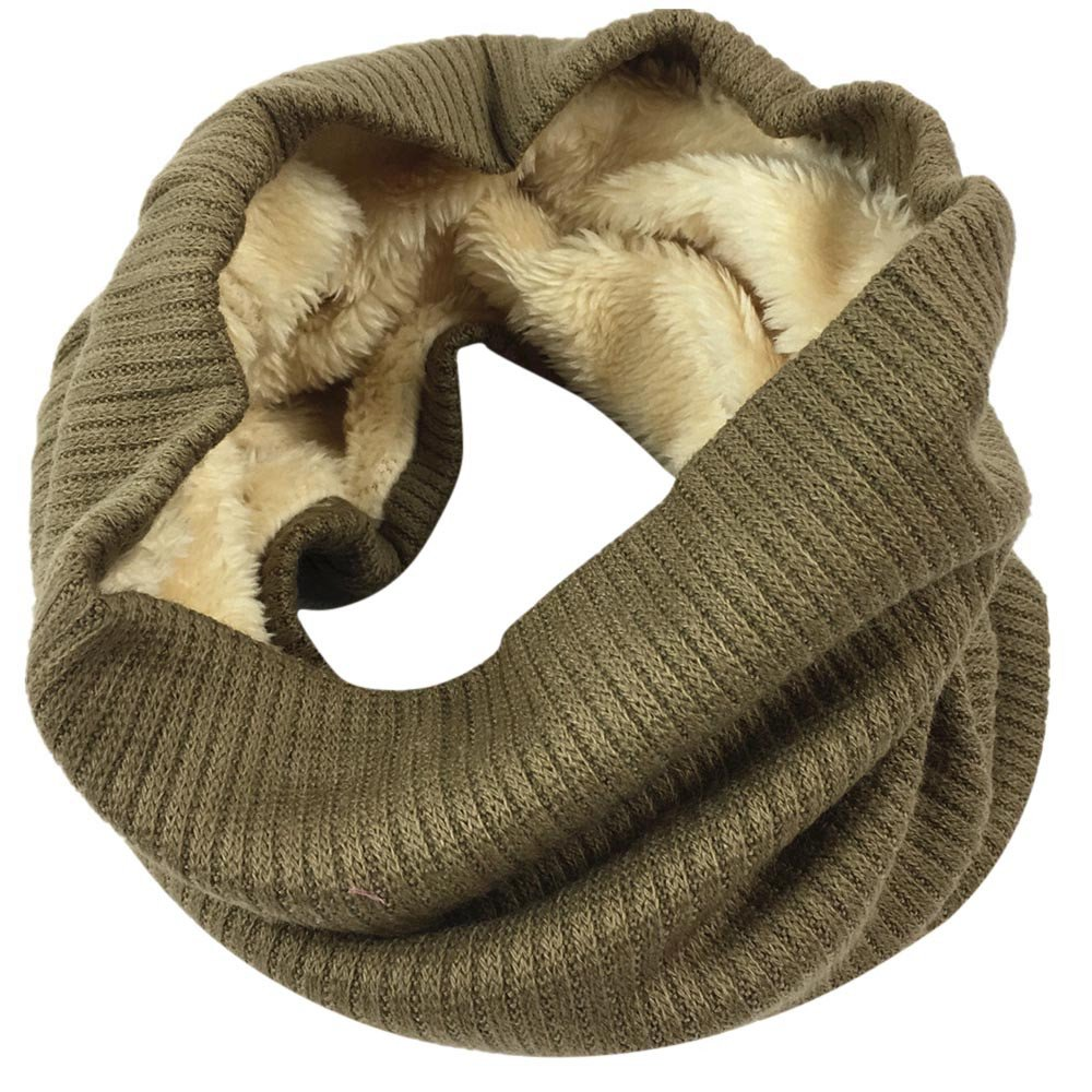 FTXJ Women Men Winter Warm Infinity Cable Knitted Neck Cowl Collar Velvet Scarf Shawl