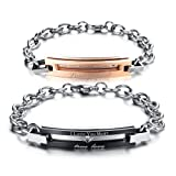 Amazon Price History for:His or Hers Matching Set Couple Titanium Stainless Steel Bangle Bracelet Pure Love Simple Korean Style Anti-fatigue in a Gift Box