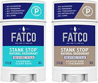 product image for FATCO Stank Stop All Natural Deodorant with Tallow and Organic Coconut Oil – Scotch Pine + Coriander / Lavender + Sage 2-Pack (1.7 oz)