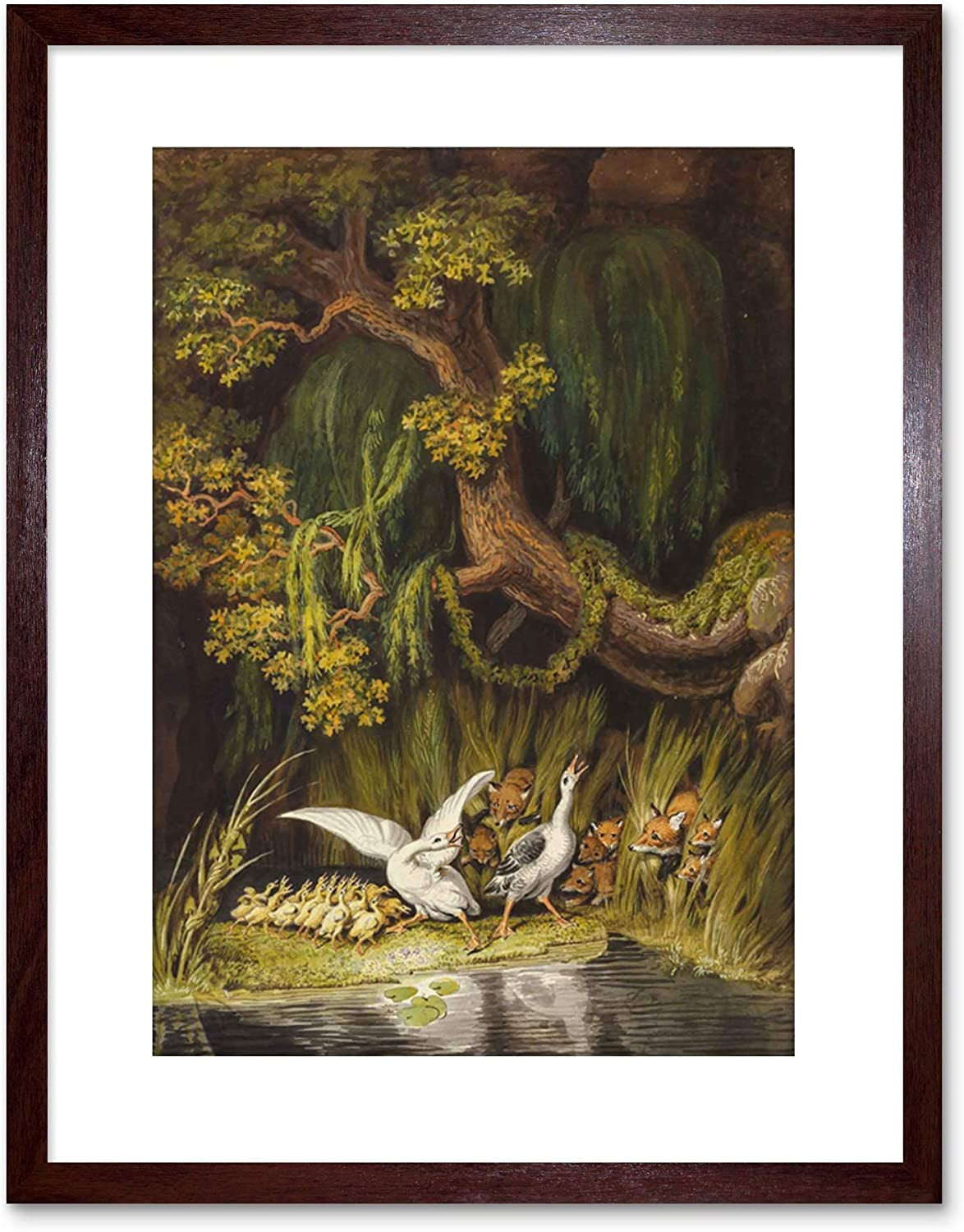 Wee Blue Coo Painting Wild Tischbein Goose Gander Foxes Rushes Framed Art Print F97x10852 Home Kitchen