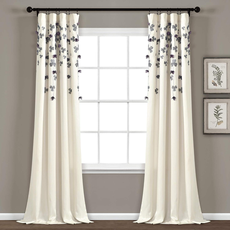 "Lush Decor Curtain Flower Drop Window Panel (Single), 84"" x 42"", Purple and Ivory"