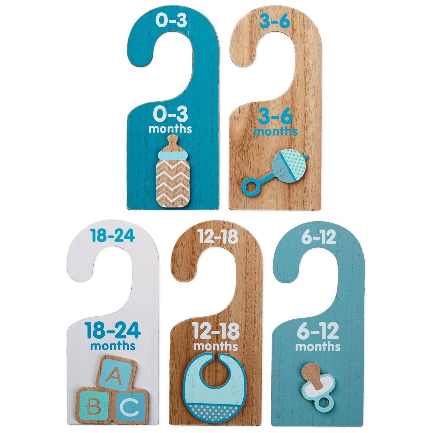 Hallmark Baby Essentials Wood Hanger Dividers for Boys, Set of 5
