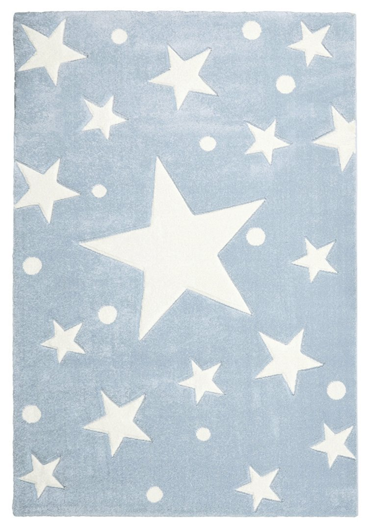 Kinderteppich Happy Rugs STARS blau weiss 160x230 cm
