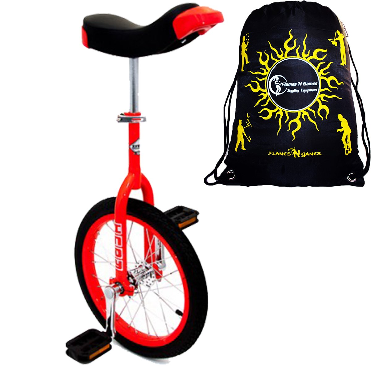 Indy Unicycles 16'' Kid's Trainer Unicycle For Kids + Small Adults + Flames N' Games Travel Bag! (Red)