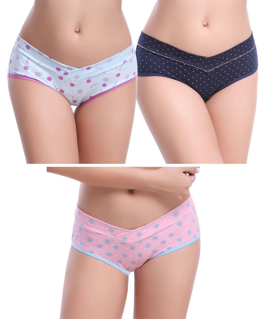 Tububa Pregnancy Underwear Set Cotton Maternity Panties For Women 3,4 Pack(Assorted Color 3 Pack,M)