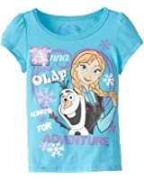 Disney Girls' Olaf and Anna Short-Sleeve Shirt