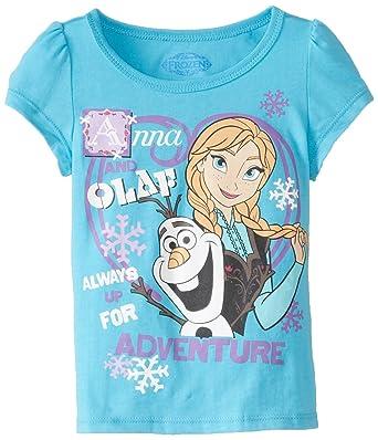 ea18bfa5 Amazon.com: Disney Girls' Olaf and Anna Short-Sleeve Shirt: Clothing