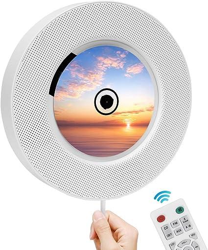 Lettore CD Portatile Gueray Lettore CD Montabile a Parete con Coperchio Antipolvere Altoparlante Hi-Fi Integrato Bluetooth con Telecomando Radio FM Lettore musicale USB Ingresso 3,5 mm AUX