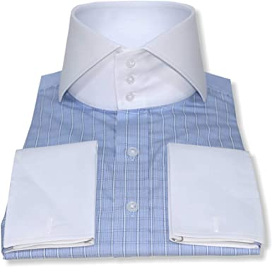 WhitePilotShirts Hombre Cuello Alto Italiano Banqueros Azul ...