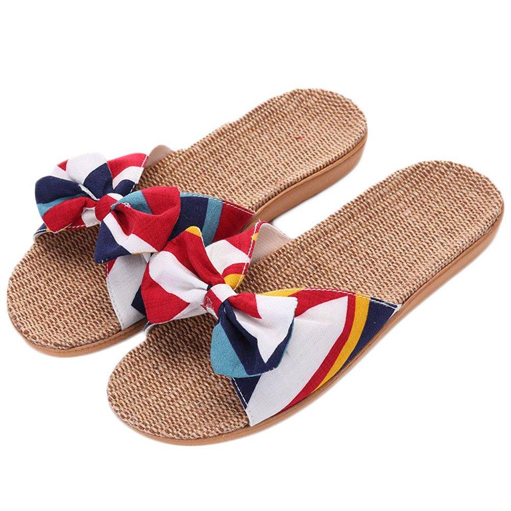 ZongsenC Damen Bowknot Schuhe Sommer Pantoffel Innenim Freienflipflops Strand Leinen Hausschuhe FL 1 35-36 6Zp0I6eMX