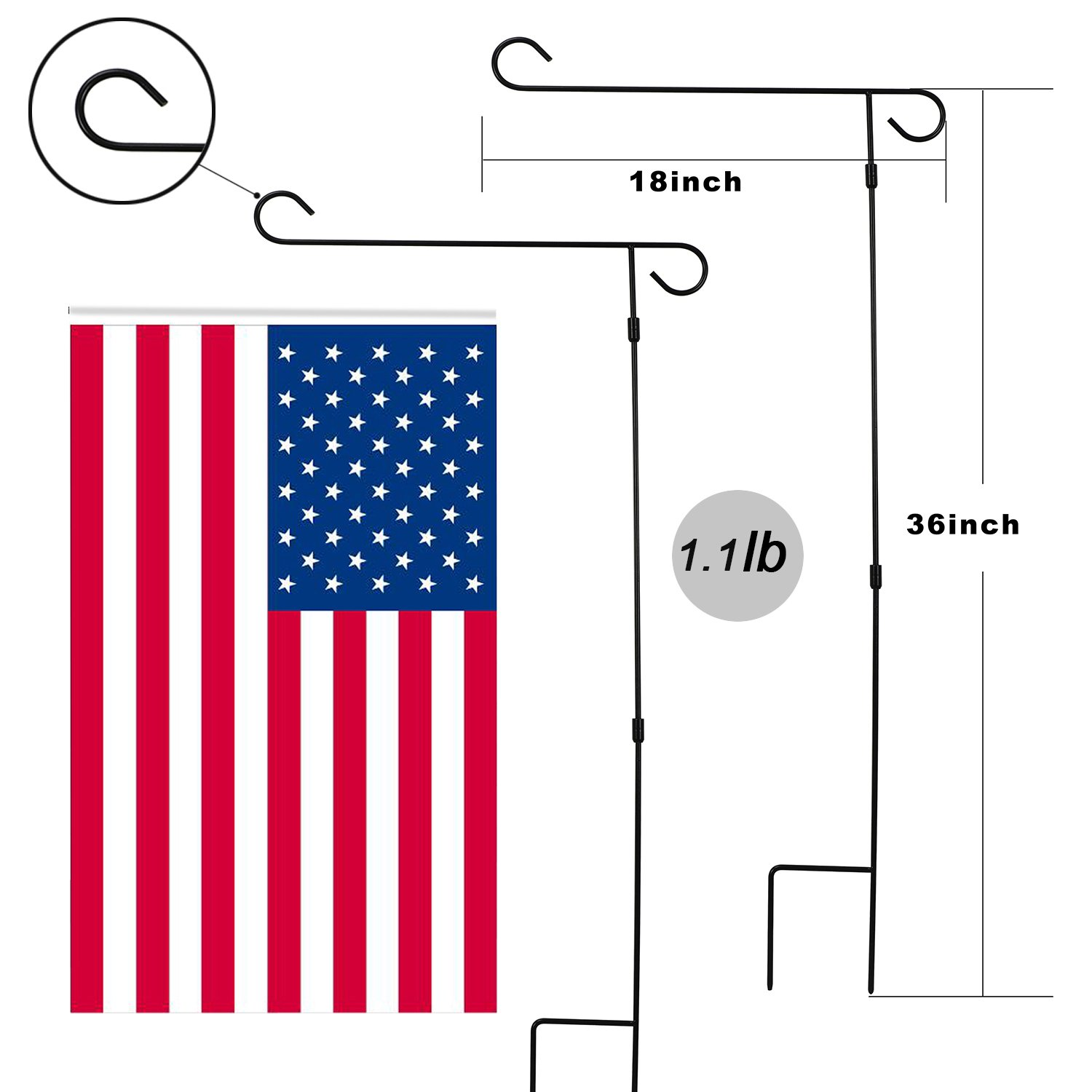 HOOSUN Garden Flag Stand Holder Pole Easy to Install Strong Sturdy Wrought Iron 36'' x 18'' Fits 12.5'' x 18'' Mini Flag with 1 Tiger Anti-Wind Clip 2 Anti-Wind Spring Stoppers by HOOSUN (Image #2)