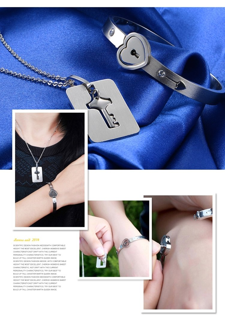 Generic Thai jewelry lovers love you forever couple sets of contract interlocking bracelet necklace fashion romantic