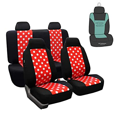 FH Group FB115114 Polka Dot Seat Covers (Polka Dots) Full Set with Gift - Universal Fit for Cars Trucks and SUVs: Automotive