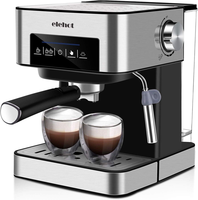 ELEHOT Cafetera Express Cafetera Espresso de Bomba Automática con Boquilla de Espuma de Leche Profesional 15 Bares Capacidad 1.8L Control Tactil,Todo Acero Inoxidable: Amazon.es: Hogar
