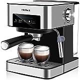 ELEHOT Cafetera Express Cafetera Espresso de Bomba Automática con Boquilla de Espuma de Leche Profesional 15 Bares Capacidad 1.8L Control Tactil,Todo Acero Inoxidable
