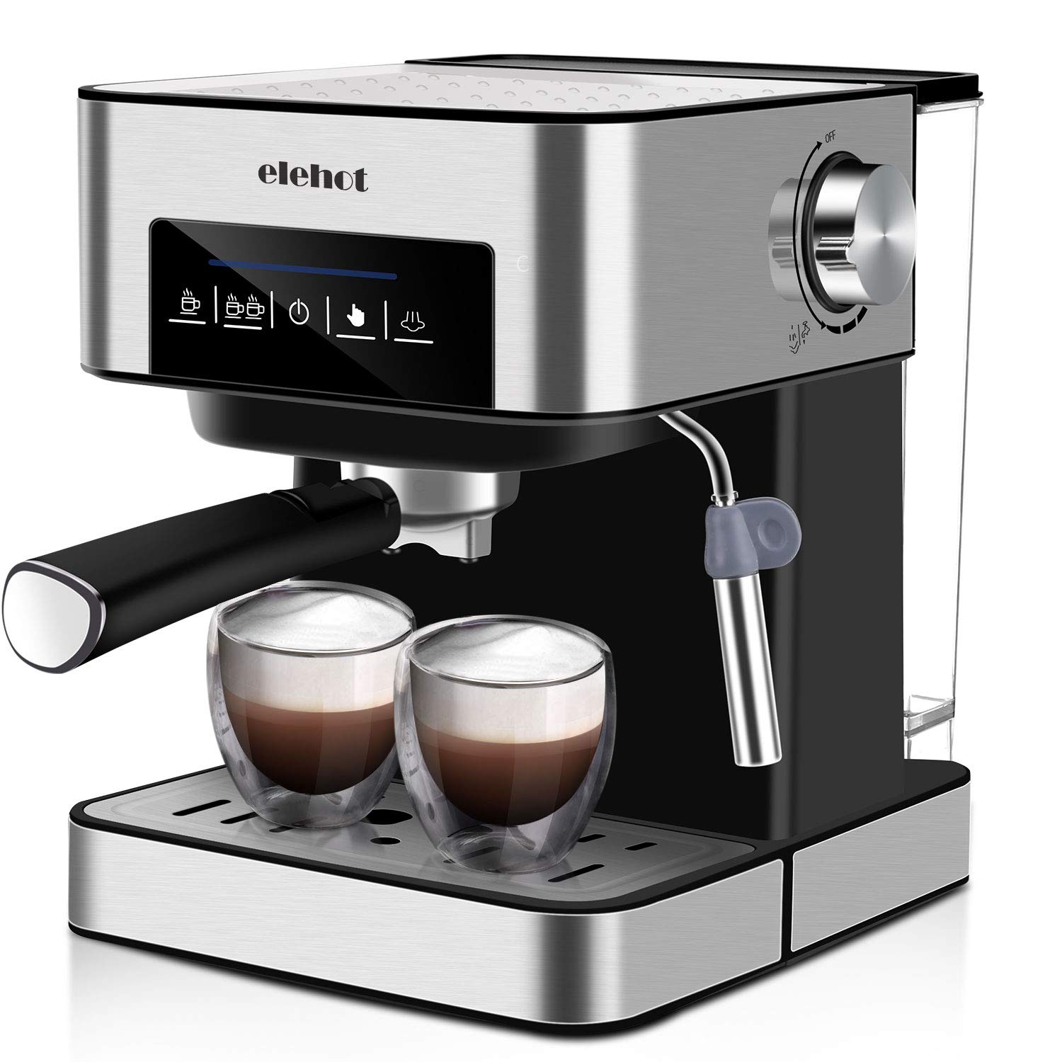 ELEHOT Coffee Makers Espresso Machine with 15 Bar Pump and Milk Frother Stainless Steel,850W (BLACK)