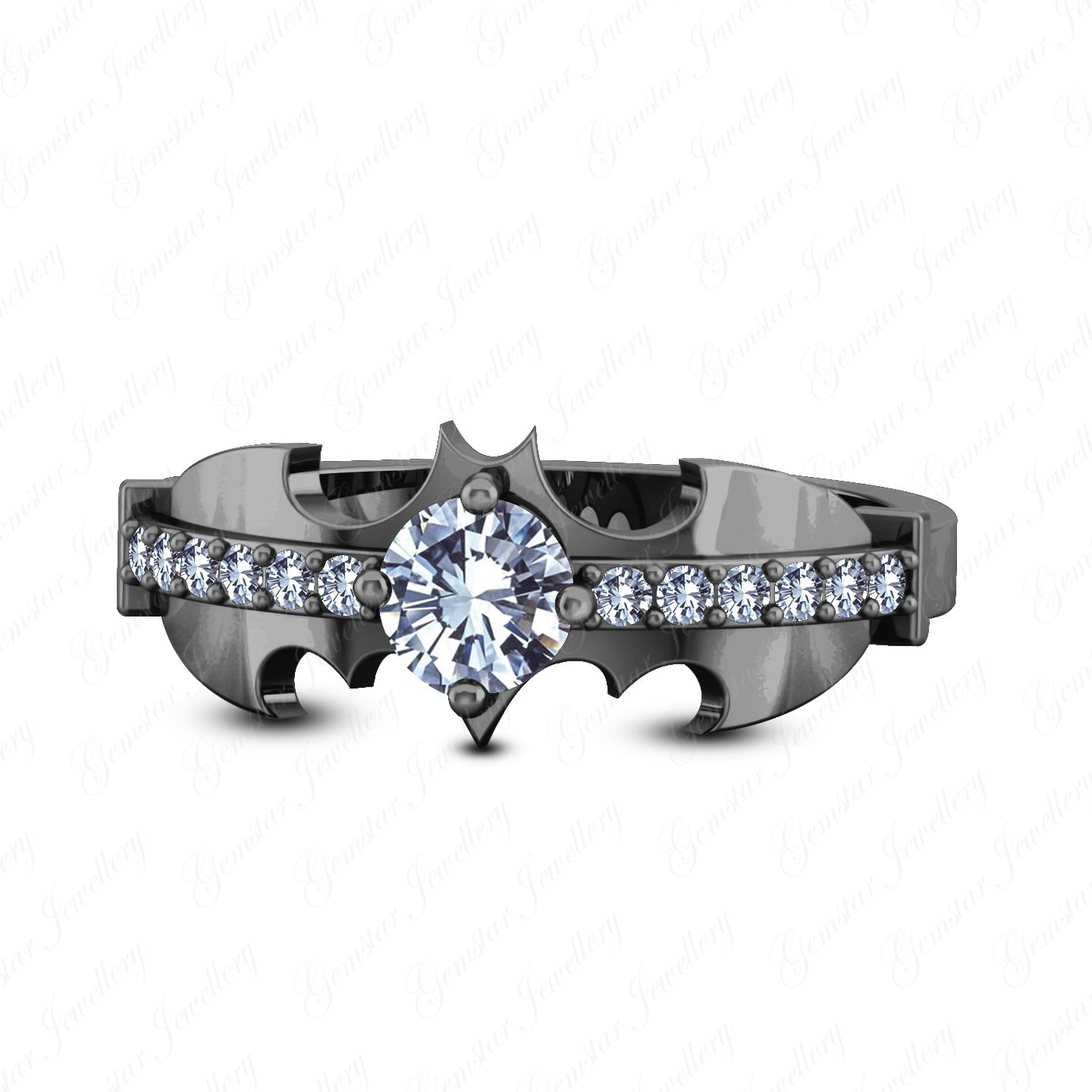 Gemstar Jewellery Round Cut White Cubic Zirconia 14K Black Gold Plated Batman Inspired Wedding Ring