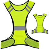 Reflective Night Running Vest with Adjustable Strap & Breathable Holes, Ultrathin Lightweight Safety Vest with 360° High Visi