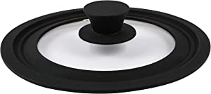 "Houseables Lids, Silicone Lid, 10"", 11"", 12"", 1 Pack, Black, Clear, Glass, Pan Cover, Universal, Replacement, Protector, For Crock Pot, Wok, Cast Iron Skillet, Frying, Pots, Pans, Cooking, Braising"