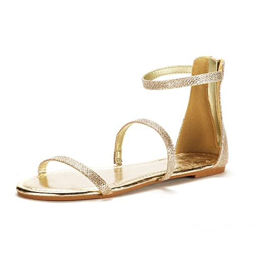 8f4edee8995ff0 DREAM PAIRS Women s Athena Low Gold Glitter Fashion Gladiator Design Ankle  Strap Flat Sandals Size 5 M