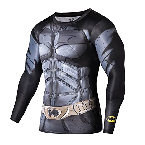 0972dacd9 Fringoo® Mens Compression Superhero Top Base Layer Gym Long Sleeve Running  Thermal Sweatshirt Workout T-Shirt Spider Superman Bat  Amazon.co.uk   Clothing