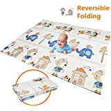 "Baby Play Mat | BPA Free Non-Toxic Foam Folding Baby Care Playmat 78.7"" x 59"" 0.4"" Thick Extra Large Reversible Crawling Mat Portable Toddlers Infant Waterproof Non-Slip 