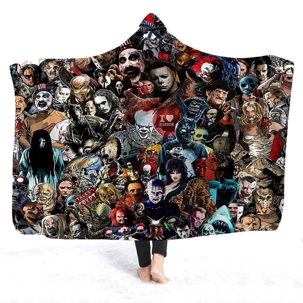 YEARGER Horror Movie Character Hooded Blanket for Adult Gothic Sherpa Fleece Wearable Throw Blanket Microfiber Bedding (145195cm,C) by YEARGER