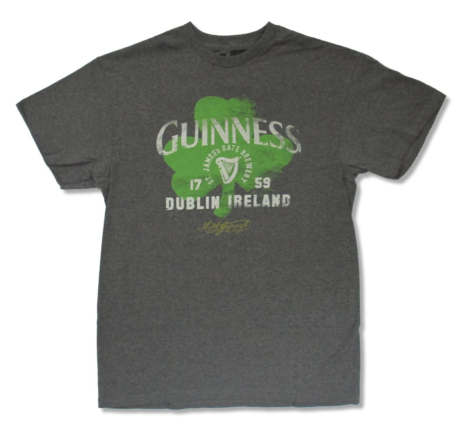 Guinness Adult Painted Clover Heather Charcoal T Shirt 6082