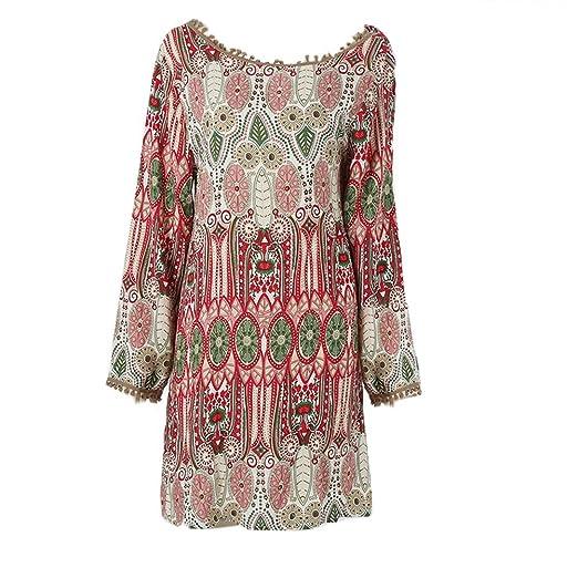 7583e55e7f96 EFINNY Women's Casual Tribal Boho Babydoll Long T-shirt Mini Dress Red ...