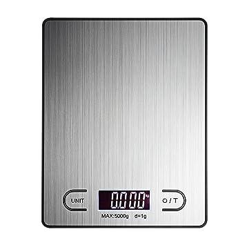 Báscula de cocina, escala digital Kitchen 11Lb 5 kg peso capacidad, 4 Unidad de tamaño, pantalla LCD luminoso, plata, acero inoxidable: Amazon.es: Hogar