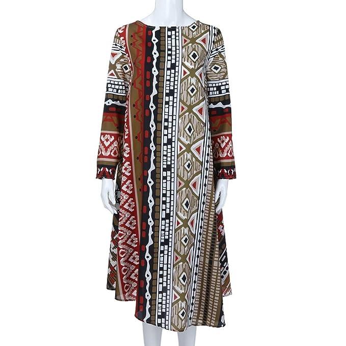 Mujer vestido Bohemian vintage Impresión traje de Otoño,Sonnena Vestidos ocasionales flojos del o-cuello ropa de manga larga impresa de la las mujeres ...