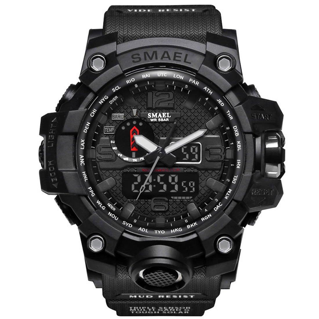 Men's Military Waterproof Digital-Analog Display Sport Watches Multifunctional Wrist Watches for Men (Black)
