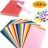 BcPowr 30PCS EVA Glitter Craft Foam Sheets, Foamie Sheets Rainbow Foam Handicraft Sheets Crafting Sponge For Arts DIY Project