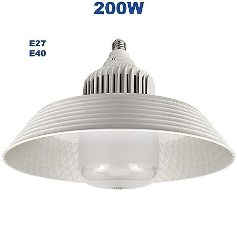 Bombillas LED E40 de 200 W de larga duración con ventilador de refrigeración y reflector blanco