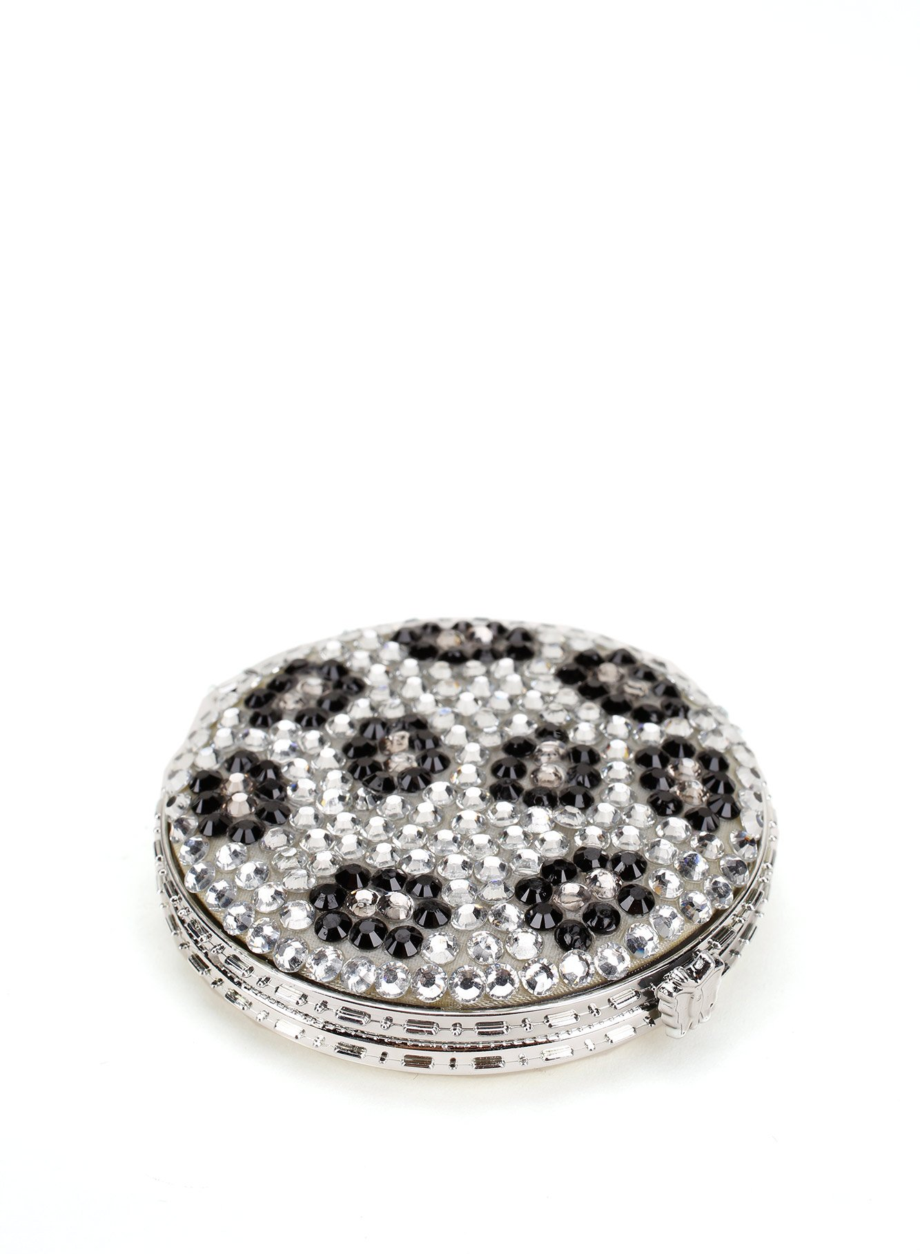 Leopard Design Round Compact Mirror Encrusted with Rhinestones