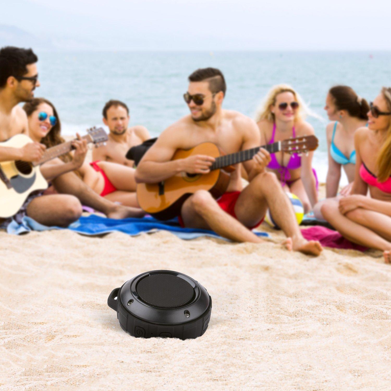 Outdoor Waterproof Bluetooth Speaker,Kunodi Wireless Portable Mini Shower Travel Speaker with Subwoofer, Enhanced Bass, Built in Mic for Sports, Pool, Beach, Hiking, Camping (Black) by Kunodi (Image #7)
