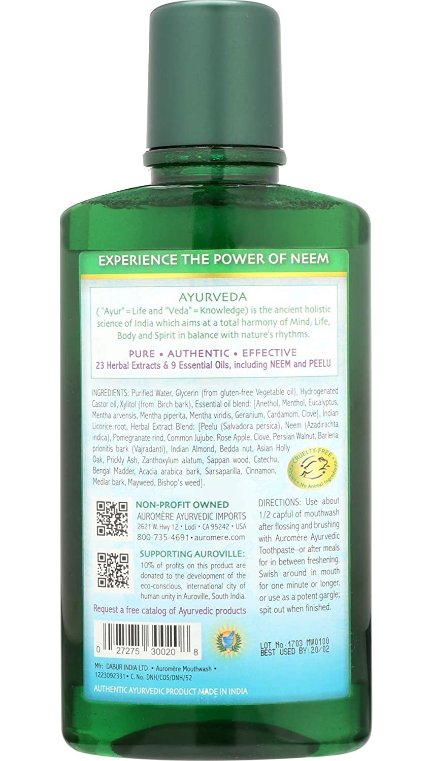 Ayurvedic Mouthwash by Auromere – Fluoride-Free, Alcohol-Free, Natural, with Neem and Vegan – 16 fl oz 16 oz – pack of 2