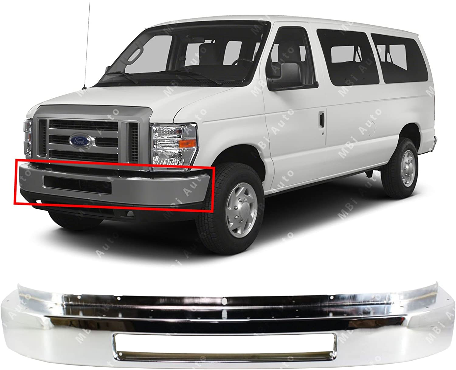 NEW FRONT BUMPER FACE BAR CHROME FOR FORD E-350 CLUB WAGON 1992 2007 FO1002348