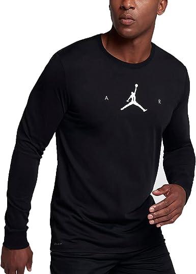 Jordan Air Jumpman Men's Longsleeve Basketball T Shirt BlackWhite 878386 010