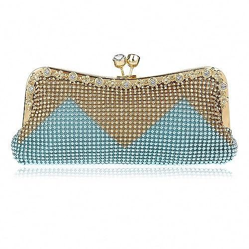 Bolso de mano para fiesta con cristales, bolsos de noche con pedrería de imitación, bolsos de mano para mujeres de Afibi: Amazon.es: Zapatos y complementos
