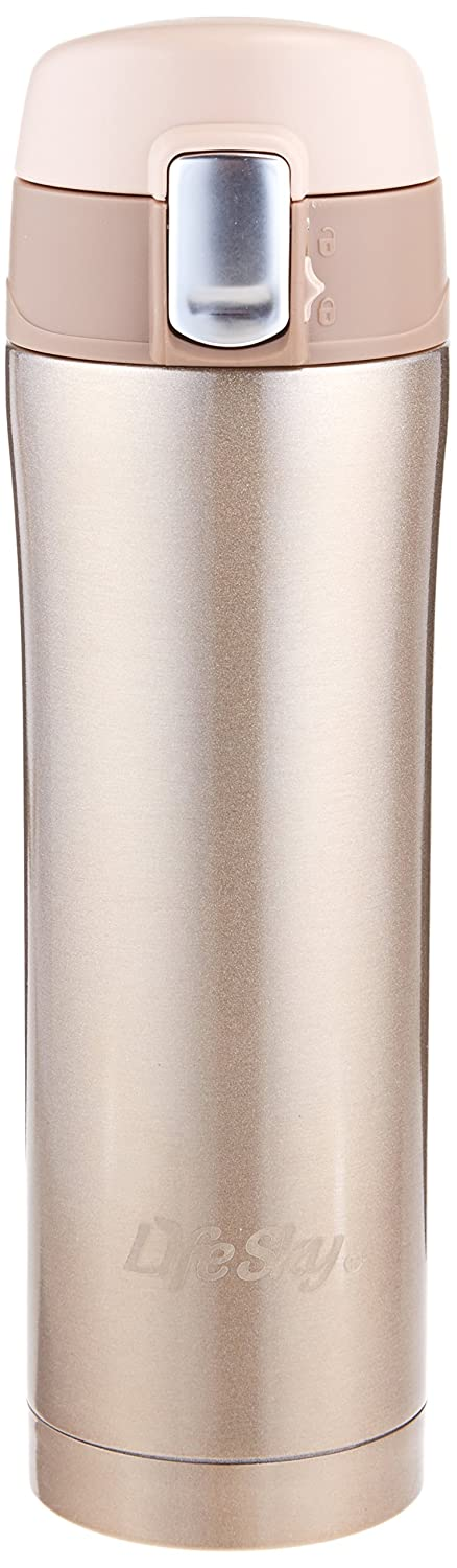 LifeSky Stainless Steel Insulated Travel Coffee Mug, 16 oz, Champagne LS-VC-1129-CHAMPAGNE