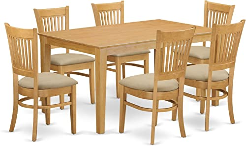 CAVA7-OAK-C 7 Pc Dining room set – Kitchen dinette Table and 6 Dining Chairs