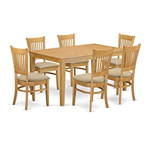 East West Furniture 7 Pc Dining room set - Kitchen dinette Table and 6 Dining Chairs