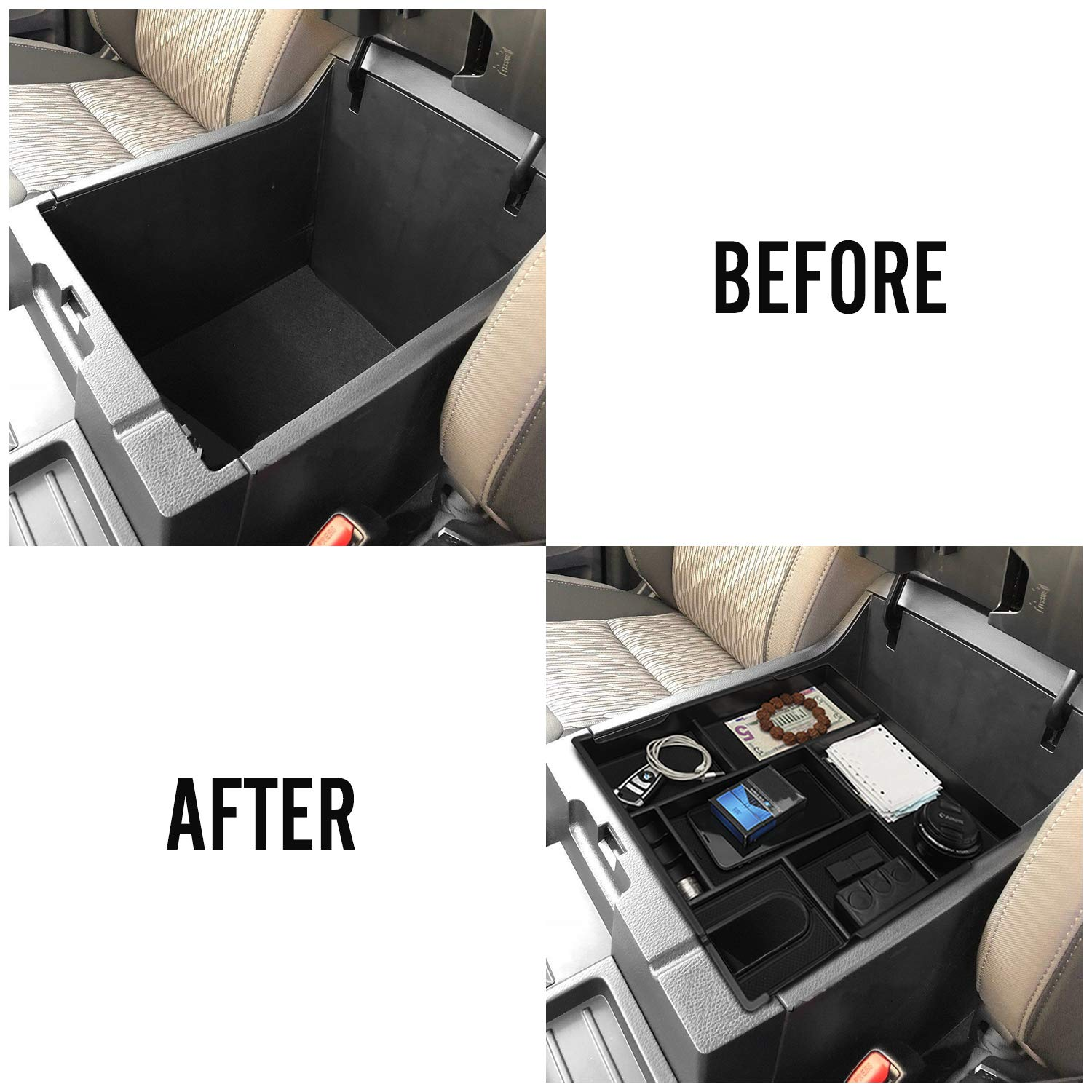 Seven Sparta Center Console Organizer for Toyota Tundra 2014-2019 Insert ABS Tray Armrest Box Secondary Storage Toyota Tundra Accessories